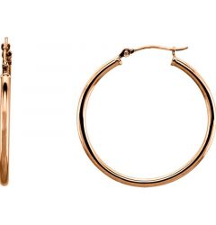 14k Rose Gold 2mm Wide Alluring Hoop Earrings