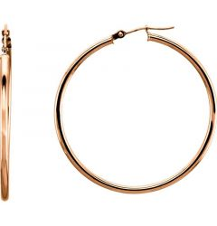 14k Rose Gold 2mm Stylish Polished Hoop Earrings