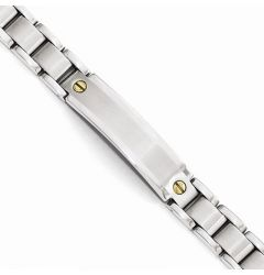 Stainless Steel Polished & Brushed Engravable ID Bracelet - 8.75in