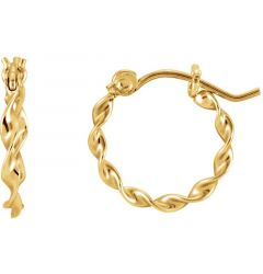 14k Yellow Gold 1.5mm Fashionable Twisted Hoop Earrings