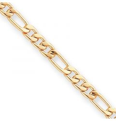 Gold Plated 0.5mm Flashy Figaro Link Chain Bracelet - 7.25in