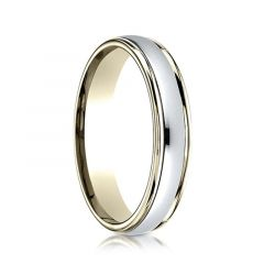 Domed Two-toned Gold Wedding Ring with Dual Offset Grooves by Benchmark