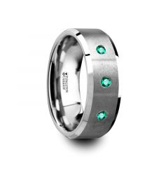 ICARUS Brushed Tungsten Men's Wedding Ring with Polished Beveled Edges & 3 Emeralds - 8mm
