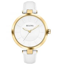 Stainless Steel Gold-Tone Dial White Leather Band Women's Dress Watch by Bulova