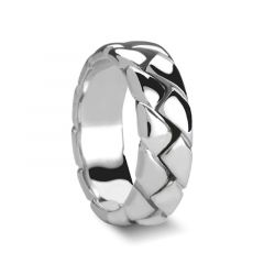 ANDRE Thick Braided Style Palladium Wedding Ring with Polished Finish by Novell - 6mm - 8mm