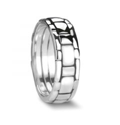 BERENGER Basket Weave Style Palladium Wedding Band with Polished Finish by Novell - 7mm