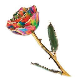 Gold Dipped Paradise Neon Tie Dyed Rose with Lacquer Coating