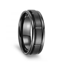 Brushed Grooved Center Black Titanium Men's Ring with Polished Rounded Edges - 7mm