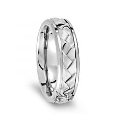 Woven Center Sterling Silver Inlaid Polished Titanium Men's Wedding Ring - 7mm
