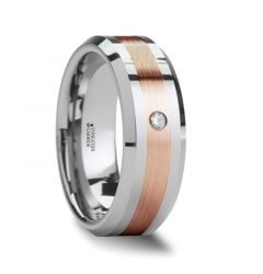 ENZO Rose Gold Inlaid Beveled Tungsten Ring with Diamond - 8mm