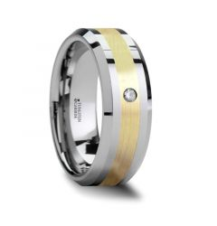 FABIAN 14K Gold Inlaid Beveled Tungsten Ring with Diamond - 8mm