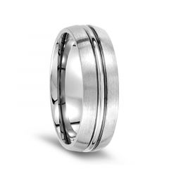 Men's Satin Finished Titanium Wedding Ring with Polished Groove - 7mm