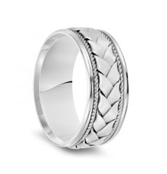 14k White Gold Woven Center Rope Milgrain Mens Wedding Band with Polished Round Edges - 8.5mm