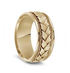 14k Yellow Gold Woven Center Rope Milgrain Mens Wedding Band with Polished Round Edges - 8.5mm