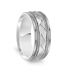 14k White Gold Woven Pattern Mens Wedding Ring with Rope Milgrain - 8mm
