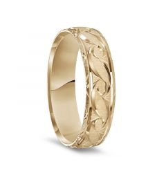 14K Yellow Gold Satin Finished Ring with Polished Grooved Pattern & Beveled Edges - 6mm