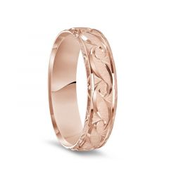 14k Rose Gold Satin Finished Ring with Polished Grooved Pattern & Beveled Edges - 6mm