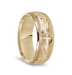 14k Yellow Gold Satin Finished Men's Milgrain Wedding Ring with Polished Cross Pattern Grooves - 8mm