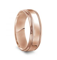 14k Rose Gold Men's Polished Wedding Band with Milgrain Accents - 7mm