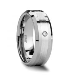 LEOPOLD Silver Inlaid Beveled Tungsten Ring with Diamond - 6mm - 8mm