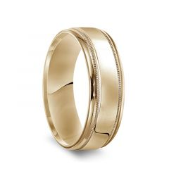 14k Yellow Gold Men's Polished Wedding Band with Milgrain Accents - 7mm
