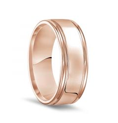 14k Rose Gold Polished Finish Rolled Edges Men's Wedding Band - 8mm