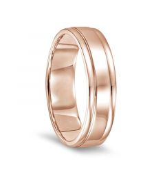 14k Rose Gold Polished Finish Ring with Round Edges - 6mm