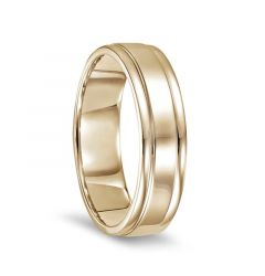 14k Yellow Gold Polished Finish Ring with Round Edges - 6mm