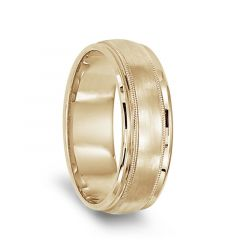 14k Yellow Gold Brushed Center Men's Milgrain Wedding Ring with Polished Edges - 7mm