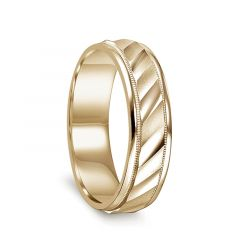 14k Yellow Gold Satin Finished Milgrain Accented Men's Ring with Diagonal Cuts & Polished Edges - 6mm - 8mm