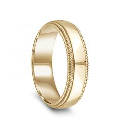 14k Yellow Gold Polished Flat Ring with Double Milgrain Step Edges - 6mm