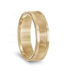 14k Yellow Gold Double Milgrain Polished Edges Mens Wedding Band with Brushed Center - 6.5mm