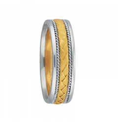 HAROLD 14K Two Tone Woven Center Gold Wedding Band by Novell - 6mm - 8mm