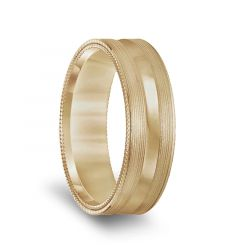 14k Yellow Gold Brushed Finish Mens Concave Wedding Band with Double Milgrain Edges - 6.5mm