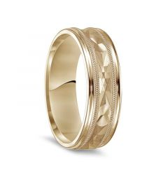 14k Yellow Gold Brushed Finish Textured Center  Men's Wedding Ring with Milgrain & Polished Edges - 7mm