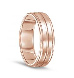 14k Rose Gold Men's Brushed Finished Polished Grooved Wedding Ring with Round Edges - 7mm