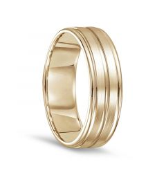 14k Yellow Gold Men's Brushed Finished Polished Grooved Wedding Ring with Round Edges - 7mm