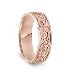 14k Rose Gold Engraved Celtic Knot Pattern Mens Wedding Band with Satin Finish - 6.5mm