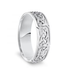 14k White Gold Engraved Celtic Knot Pattern Mens Wedding Band with Satin Finish - 6.5mm