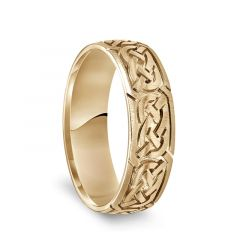 14k Yellow Gold Engraved Celtic Knot Pattern Mens Wedding Band with Satin Finish - 6.5mm