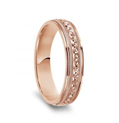 14k Rose Gold Milgrain Accented Women's Polished Wedding Ring - 4mm & 6mm