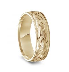 14k Yellow Gold Satin Brush Finished Men's Wedding Band with Engraved Celtic Knot Motif - 7mm