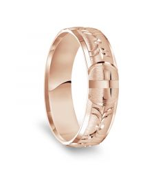 14k Rose Gold Satin Finished Polished Edges Wedding Ring with Polished Cross Cuts - 6mm