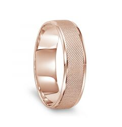 14k Rose Gold Sand Finished Wedding Ring with Polished Round Edges - 6mm