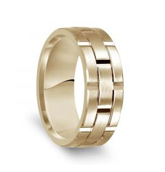 14k Yellow Gold Satin Finished Men's Wedding Ring with Vertical Grooves - 8mm