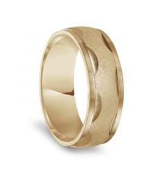 14k Yellow Gold Serrated Sand Finished Round Cut Motif Mens Wedding Band with Round Edges - 7.5mm