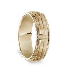 14k Yellow Gold Soft Sand Finished Polished Grooved Men's Wedding Band with Step Edges - 7mm