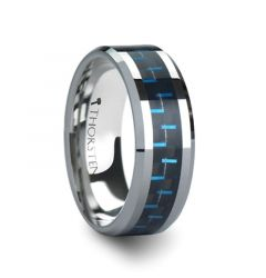 AUXILIUS Tungsten Carbide Ring with Black & Blue Carbon Fiber Inlay - 6mm - 10mm