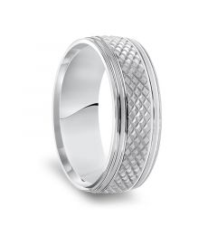 14k White Gold Satin Finished Knurled Textured Pattern Mens Wedding Ring with Grooved Polished Edges - 7.5mm
