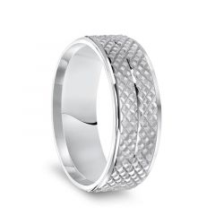 14k White Gold Knurled Textured Pattern Soft Sand Finished Mens Wedding Ring with Polished Edges - 7.5mm